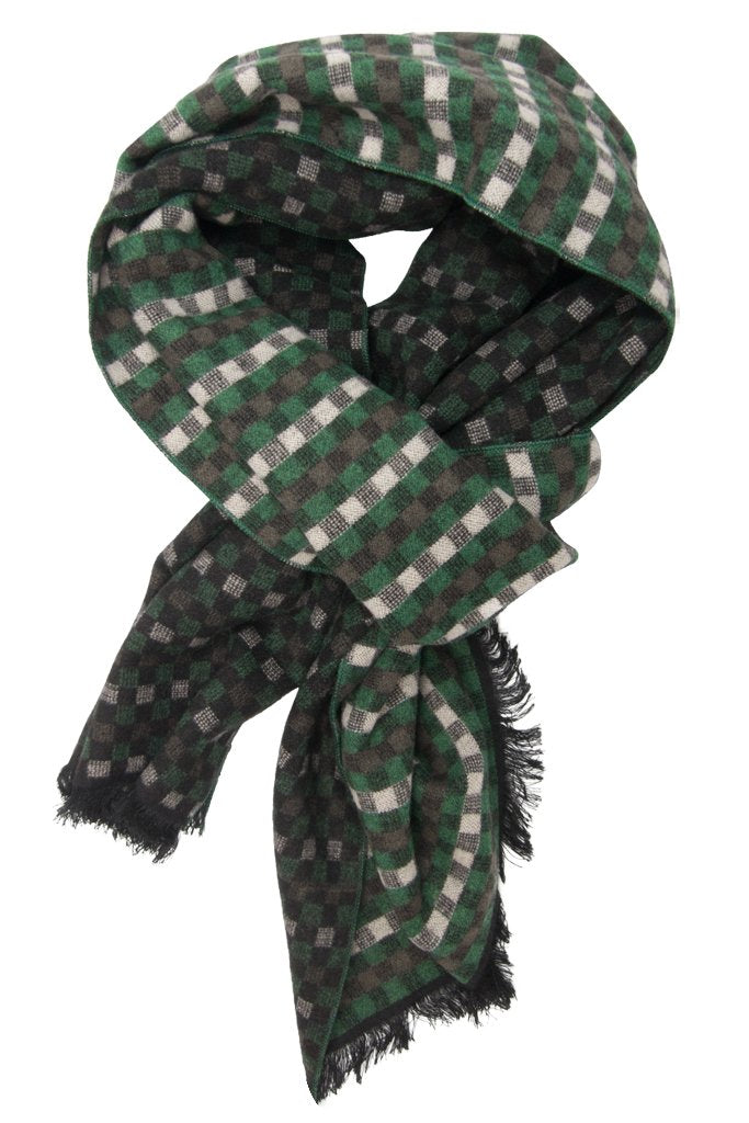 Green & Beige Gingham Scarf
