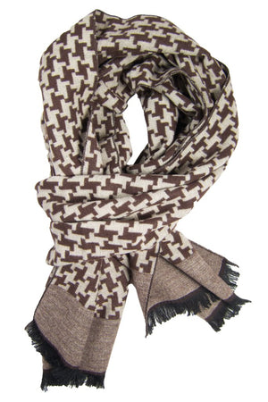 Brown & Khaki Houndstooth