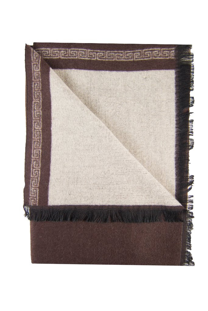 Brown & Khaki Bordered Scarf