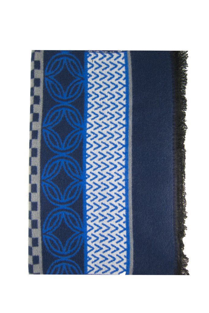 Royal Blue & Navy Patterned Scarf