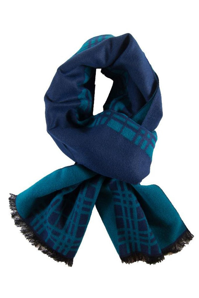 Teal & Navy Plaid Scarf