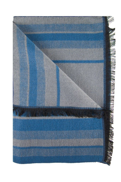 Light Blue & Grey Striped Scarf