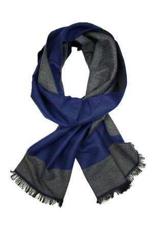 Solid Navy & Grey Trim Scarf