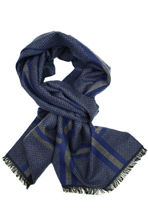 Navy & Grey Double Stripe Scarf