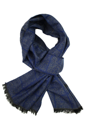 Navy & Grey Heather Plaid Scarf