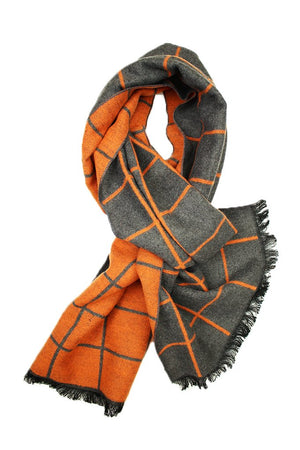 Bright Orange & Grey Window Pane Scarf