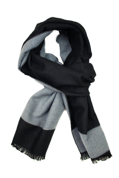Solid Black & Grey Trim Scarf