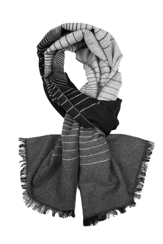 Black & Grey Ombre Striped Scarf