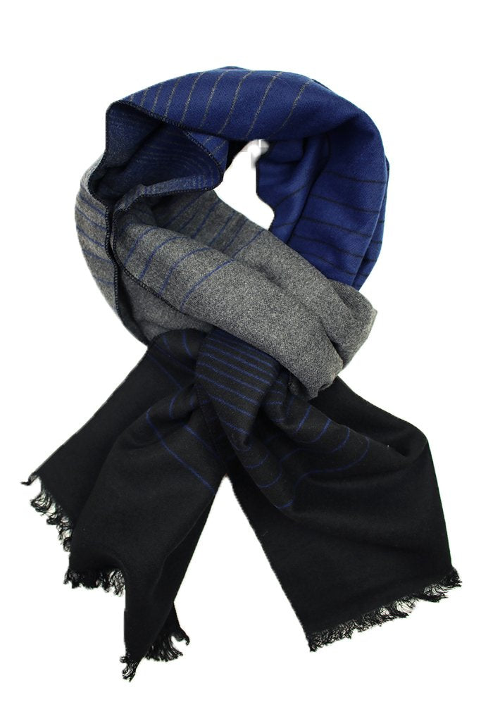Black, Navy, & Grey Ombre Striped Scarf