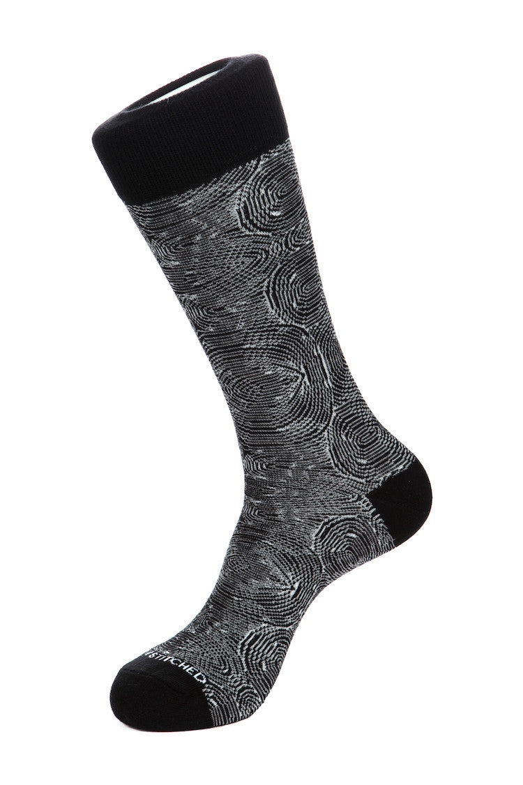 Unsimply Stitched Swirl Crew Sock Fits Size 8 to 13 Black