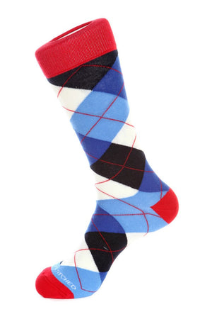 Banana Cream Blues Argyle Sock