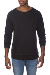 Stone Washed Cotton/Modal French Terry Relaxed Neck Crew Sweater