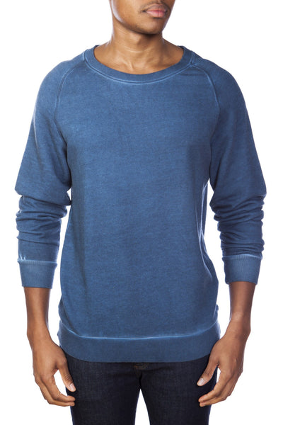 Dirty Washed Cotton/Modal French Terry Relaxed Neck Crew Sweater