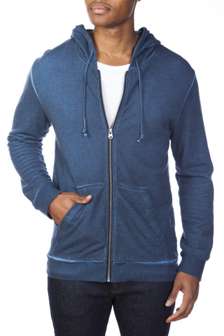 Dirty Washed Cotton/Modal French Terry Zip-Up Hoodie