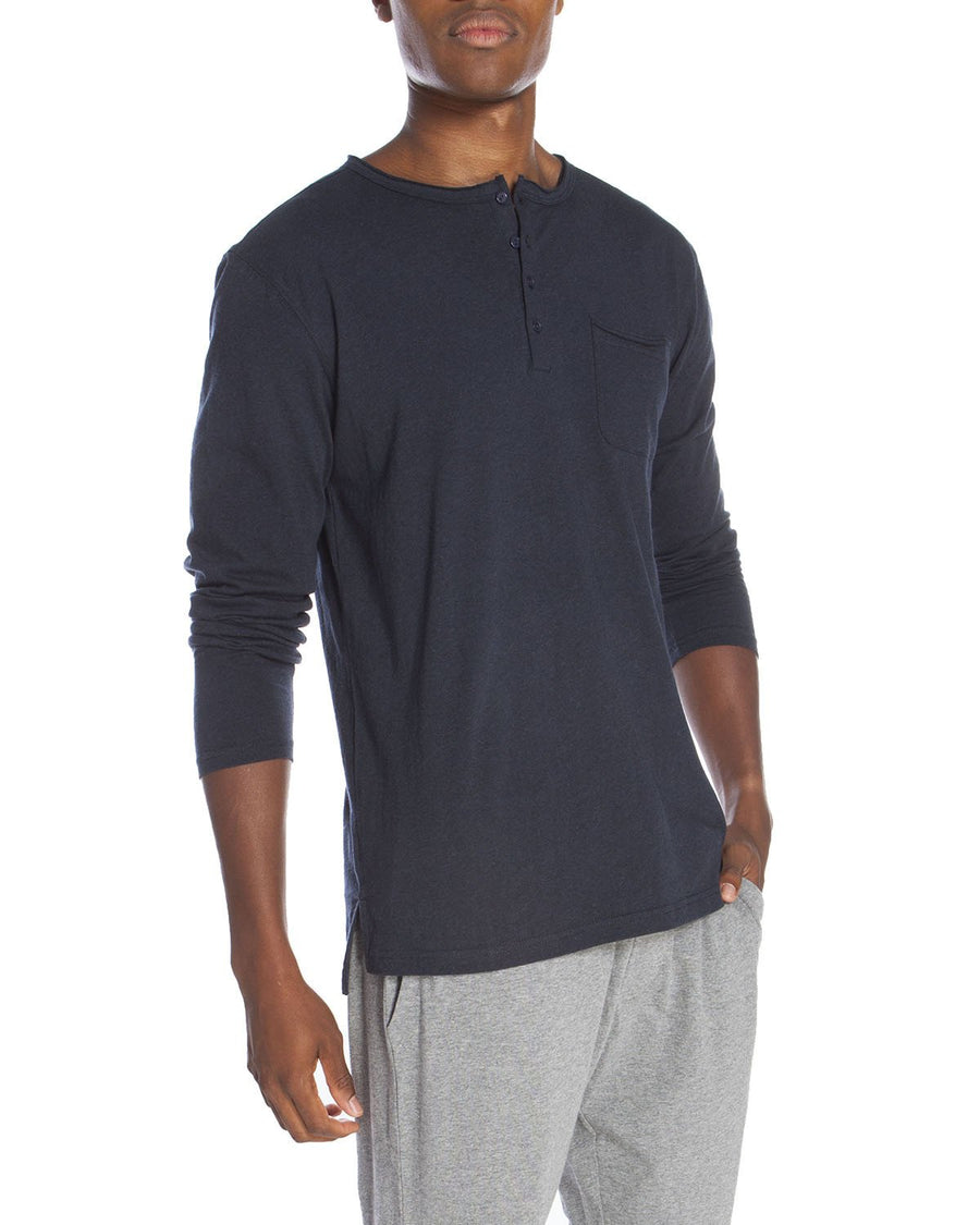 Raw Edge Long Sleeve Pocket Henley