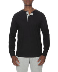 Long Lseeve Lounge Henley Contrasting Piping