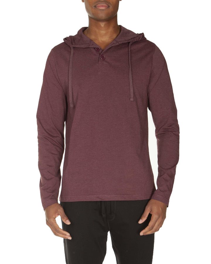 Hooded Henley Non Ribbed With Buttons