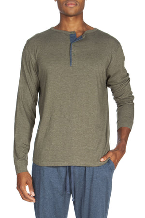 Long Sleeve Lounge Henley Contrast Piping