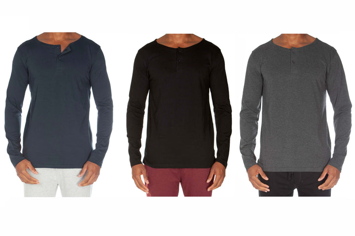 Light Weight 2 Button Henley Value Pack