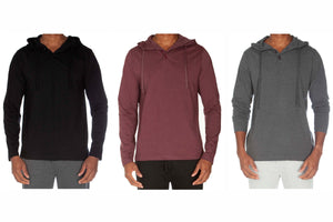 Hooded Henley Non Ribbed With Buttons Value Pack