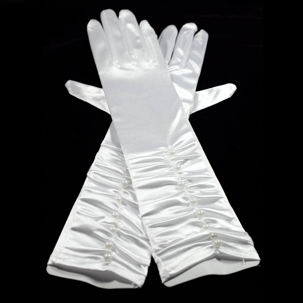 White Evening Fancy Dress Costume Gloves with Faux Pearls 35cm