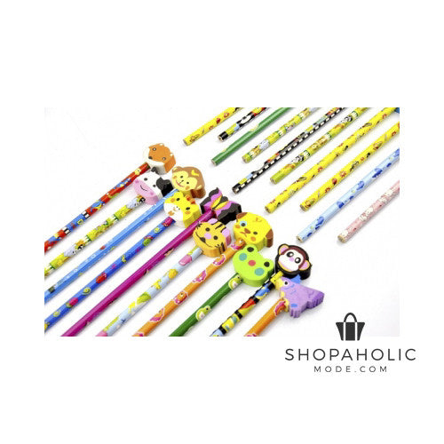 36pcs Piece Pencil Set with Funky Animal Erasers Stationary Set