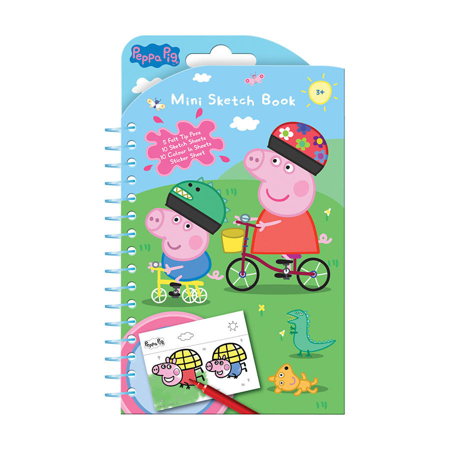 Peppa Pig Mini Sketch Book - Felt Tip Pens, Colour in, Sketch & Sticker Sheets