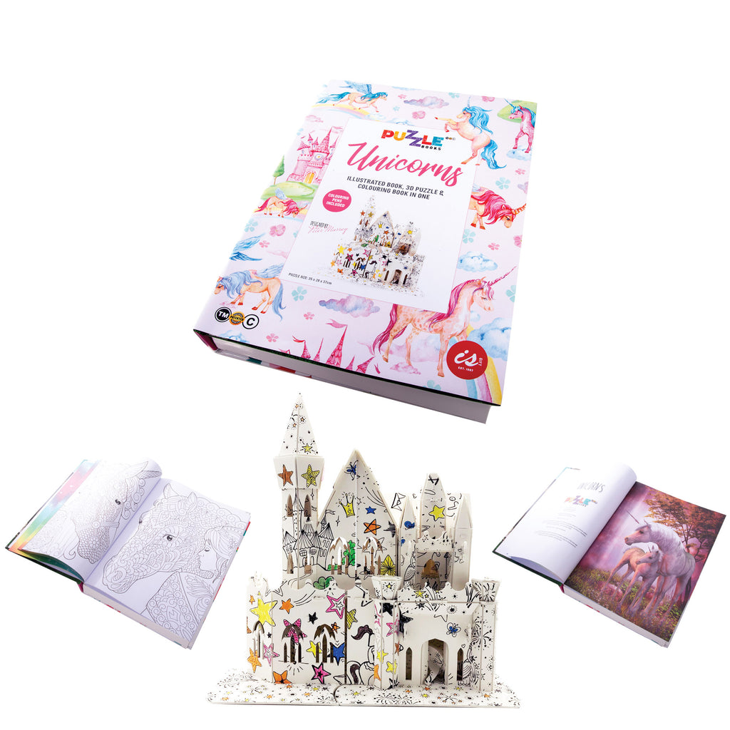 IS GIFT Illustrated 3D Puzzle Colouring Book - Unicorns Kids Craft Activity A4