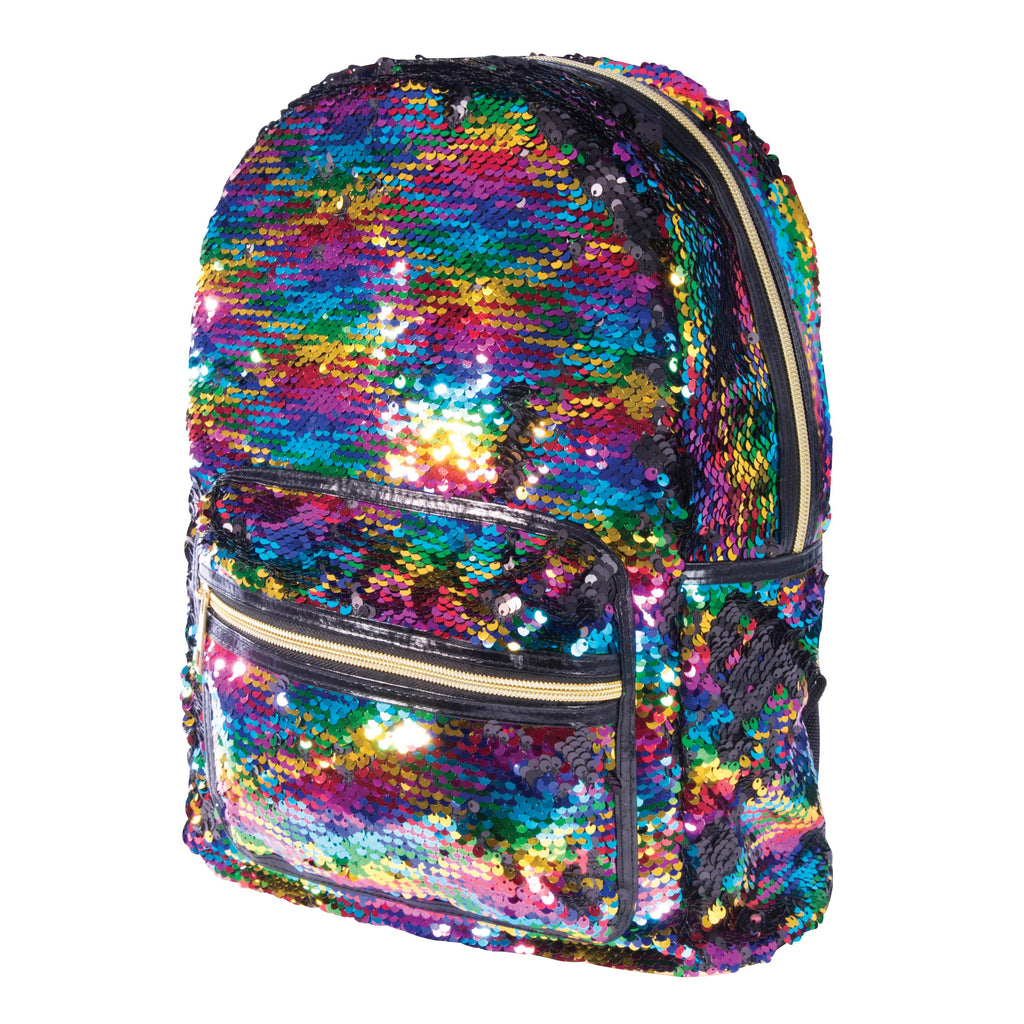 Reversible Sequin Backpack - Pearlescent & Silver OR Rainbow & Black