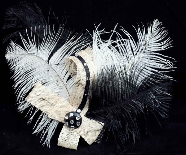 Hair Fascinator Comb with Feathers, Mesh Ribbon and Rhinestones