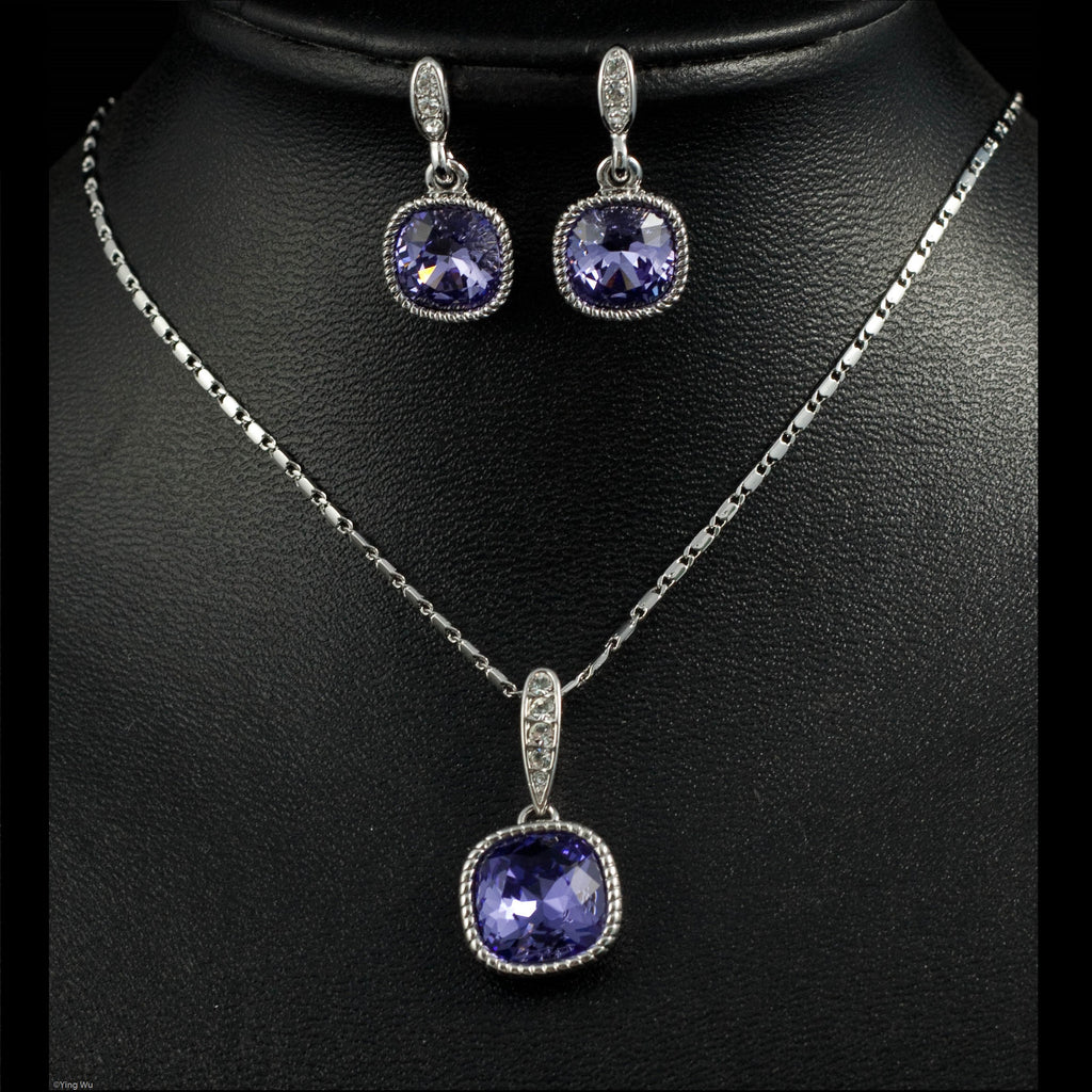 Royal  - Purple Cubic Zirconia Earrings and Necklace Set
