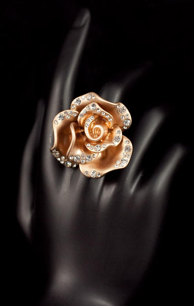 Free Size Rose Statement Rings with Rhinestones
