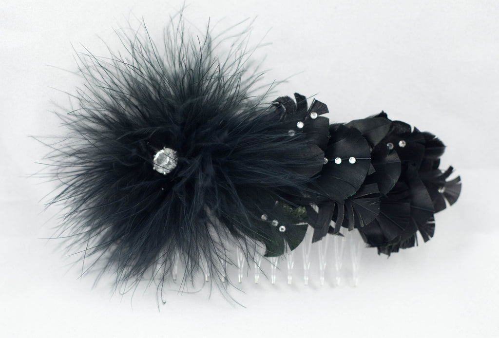 Black Feather and Rhinestone Hair Comb   Fascinator – Shopaholic Mode d9f1c59f2c7