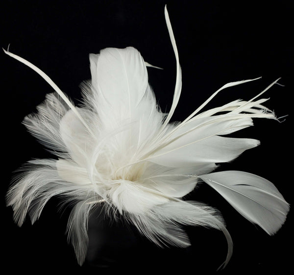 Hair Fascinator Clip with White Feathers