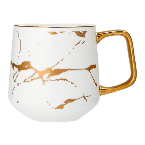 Ashdene Marble Luxe Collection Porcelain Mug White & Gold 350ml