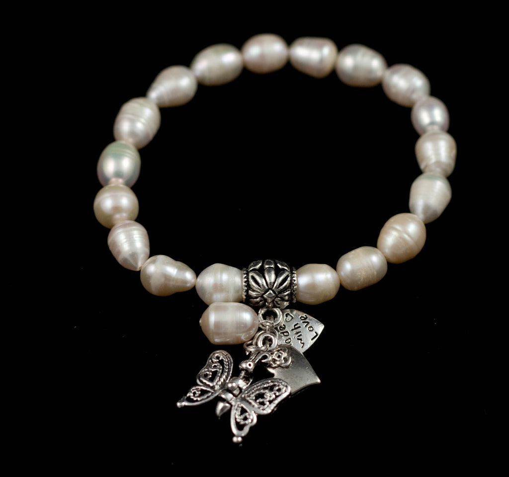 Baroque Fresh Water Pearl Bracelet with Butterfly & Heart Charms