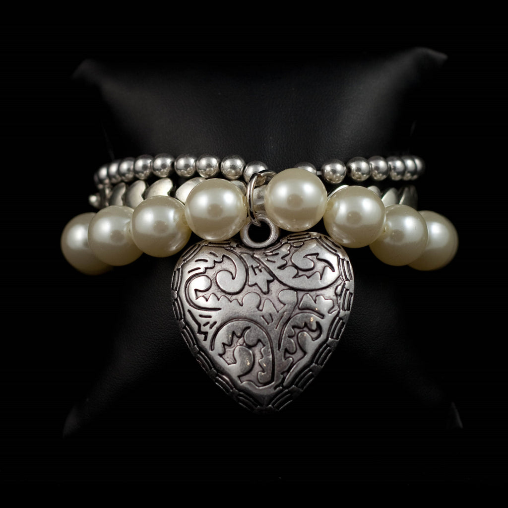 Multi-Strand Beaded Bracelet with Large Heart