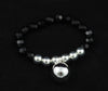 Black Crystals and 925 Sterling Silver Plated Bracelet