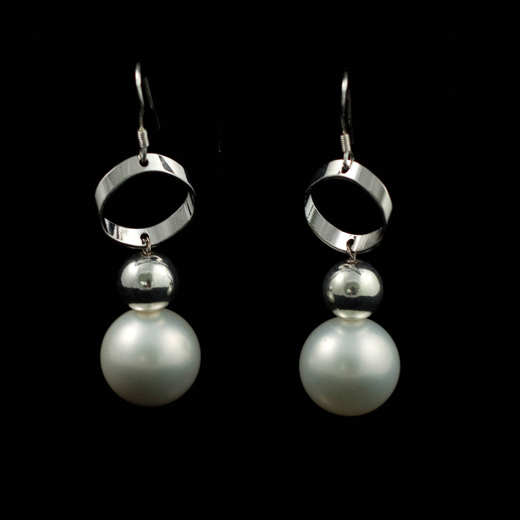 Matte Shell Pearls and 925 Sterling Silver Earrings