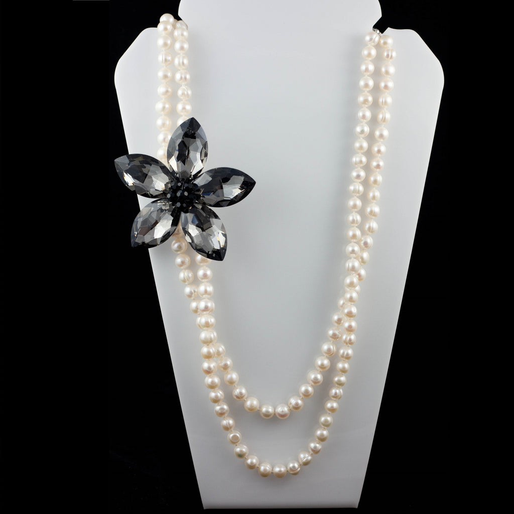 Fresh Water Pearl Layered Necklace with Austrian Crystal Flower