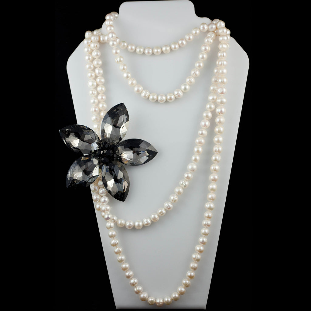 Large Fresh Water Pearl Layered Necklace with Austrian Crystal Flower