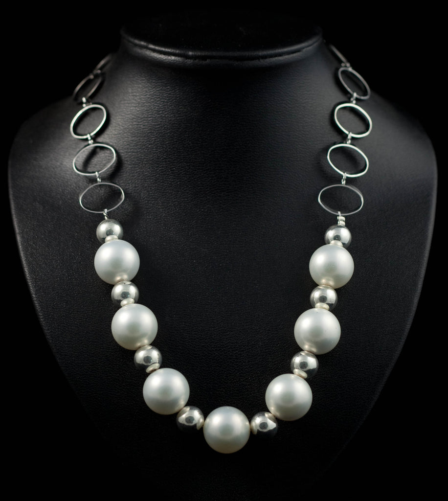 16mm Matte Shell Pearls and 925 Sterling Silver Plated Bead Necklace
