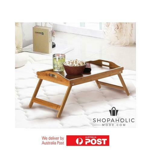 Bamboo Fold Up Lap Sserving Tray CoffeeTea Table Wooden Dinner Breakfast in Bed
