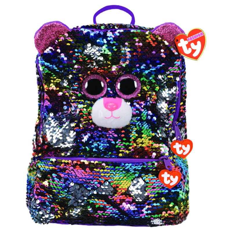 Ty Beanie Fashion - Dotty the Rainbow Leopard Square Sequin Backpack