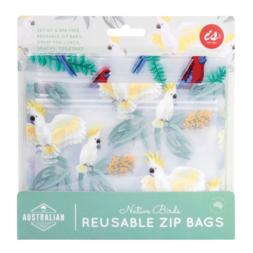 IS GIFT Australian Native Birds Reusable Zip Bags (set of 8)