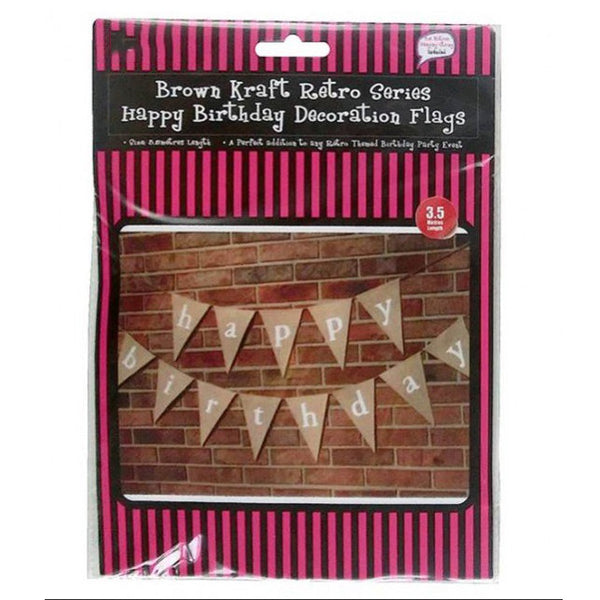 3.5 Meter Brown Kraft Happy Birthday Decoration Flags Banner