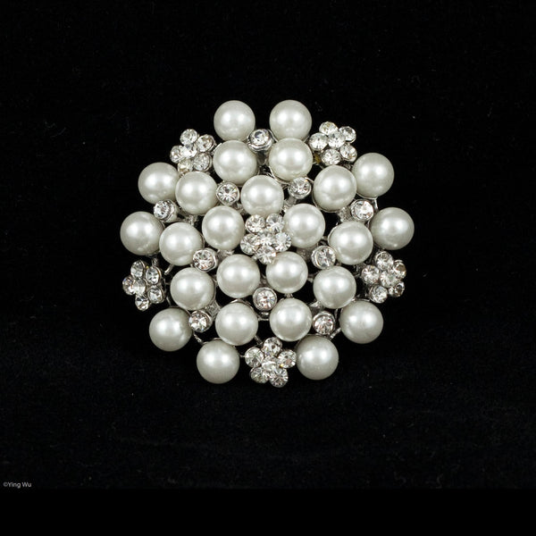 Rhinestone and Faux Pearl Brooch