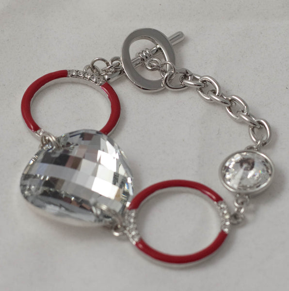 Bling Diamontes and Red Rings Bracelet
