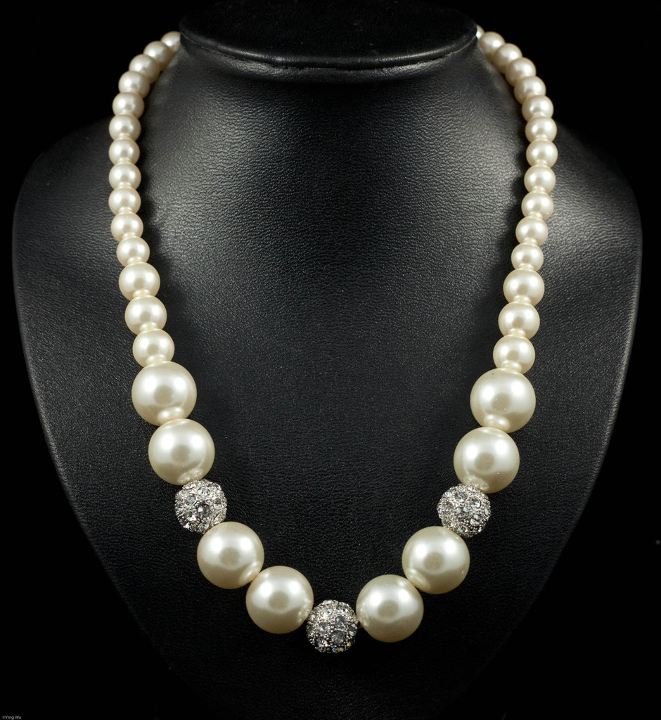 Discotheque - Faux Pearl and Rhinestone Necklace