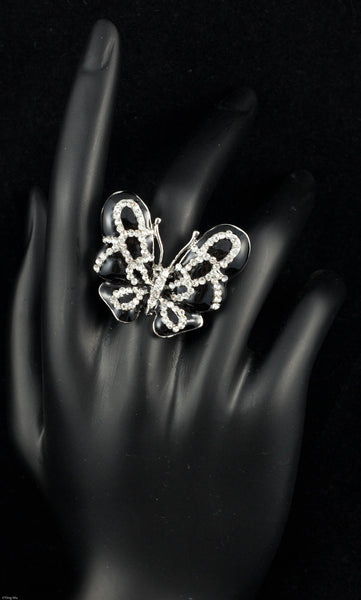 Black Epoxy and Clear Rhinestone Butterfly Ring